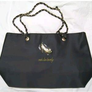 "DSW Black Satin Tote / Bag ""Ooh La Lovely"" ("